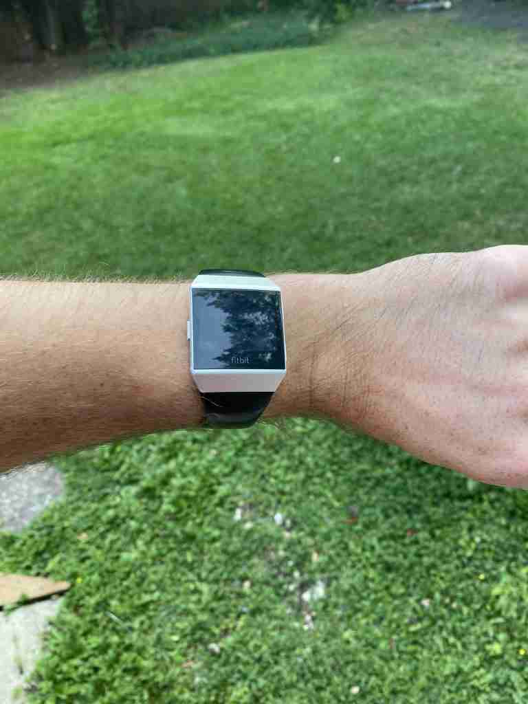 fitbit iconin watch on wrist